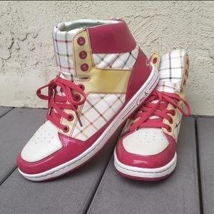 Coach High top Sneakers red gold & plaid size 8M